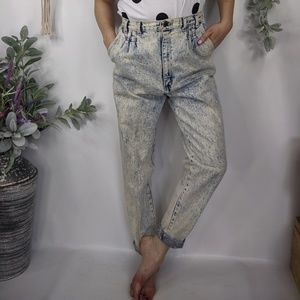 VTG Acid wash high waist mom jeans tapered 0884